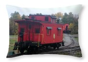 Caboose On The Tracts Throw Pillow