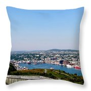Cabot Tower Overlooking The Port City Of St. John's Throw Pillow