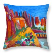 Cacti With Red Rocks And Rr Trestle Throw Pillow