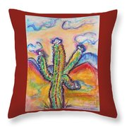 Cactus And Clouds Throw Pillow