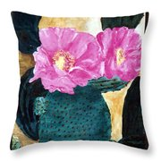 Cactus And The Pink Flower Throw Pillow