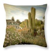 Monterey California Cactus Garden Throw Pillow