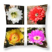 Cactus Blooms Collage Throw Pillow