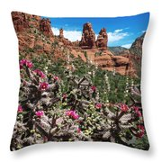 Cactus Flowers And Red Rocks Throw Pillow