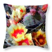 Cactus Flowers Bright And Prickly Throw Pillow