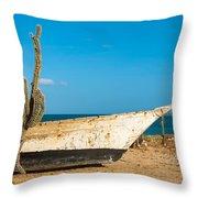 Cactus On A Beach Throw Pillow