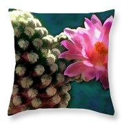 Cactus With Pink Sunlit Bloom Throw Pillow