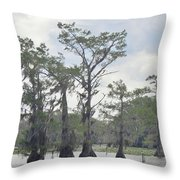Caddo Lake Cypress Trees Throw Pillow