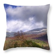 Cades Cove First Dusting Of Snow II Throw Pillow by Debra and Dave Vanderlaan