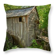 Cades Cove Grist Mill Closeup Throw Pillow