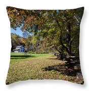 Cades Cove House And Fall Colors Throw Pillow