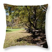 Cades Cove House And Split Rail Fence Throw Pillow