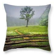 Cades Cove Misty Tree Throw Pillow