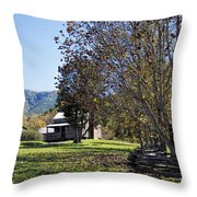 Cades Cove Tennessee Fall Scene Throw Pillow