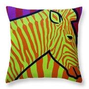 Cadmium Zebra Throw Pillow
