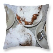 Cafe Au Lait And Beignets Throw Pillow by Carol Groenen