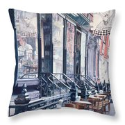 Cafe Della Pace East 7th Street New York City Throw Pillow by Anthony Butera