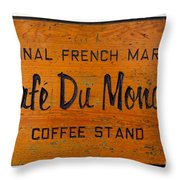Cafe Du Monde Sign In New Orleans Louisiana Throw Pillow