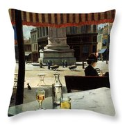 Cafe In A City Square Throw Pillow