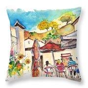 Cafe In Barca De Alva Throw Pillow