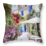 Cafe In The Spring Throw Pillow
