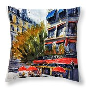 Cafe Le Champ De Mars Throw Pillow