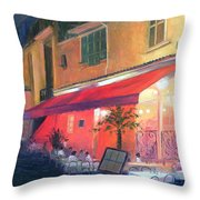Cafe Scene Cannes France Throw Pillow
