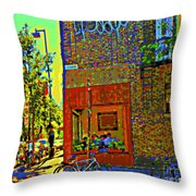 Cafe Window Corner Rue Fabre Near The Bicycle Stand Art Of Montreal Summer Street Scene  Throw Pillow
