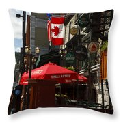 Cafes And Bars Along Crescent Street Throw Pillow