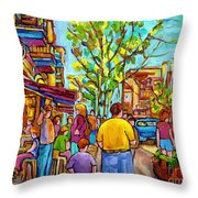 Cafes In Springtime Throw Pillow