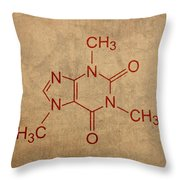 Caffeine Molecule Coffee Fanatic Humor Art Poster Throw Pillow