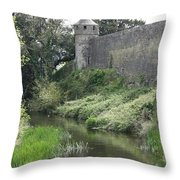 Cahir Castle Wall And River Suir Throw Pillow