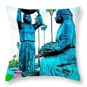 Cahuilla Women Sculpture In Palm Springs-california  Throw Pillow