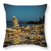 Cairn On Lake Michigan Throw Pillow