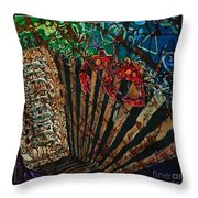 Cajun Accordian - Bordered Throw Pillow