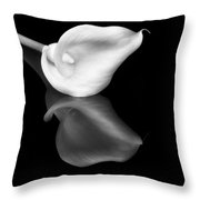 Cala Lily Reflection Bw Throw Pillow