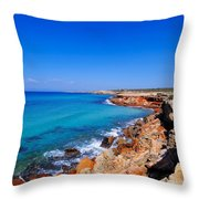 Cala Saona On Formentera Throw Pillow