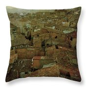 Calahorra Roofs From The Bell Tower Of Saint Andrew Church Throw Pillow