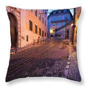 Calcada Da Gloria Street At Dusk In Lisbon Throw Pillow