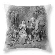 Caleb Plummer And His Blind Daughter Throw Pillow
