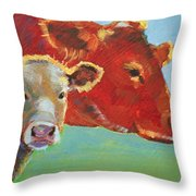 Calf And Cow Painting Throw Pillow