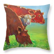Calf And Cows Painting Throw Pillow
