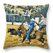 Calf Ropers Throw Pillow