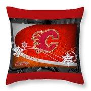 Calgary Flames Christmas Throw Pillow