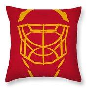 Calgary Flames Goalie Mask Throw Pillow