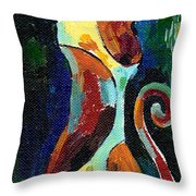 Calico Cat Abstract In Moonlight Throw Pillow