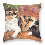 Calico Cat In Garden Watercolor Painting Throw Pillow
