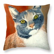 Calico Cat Throw Pillow by Karen Zuk Rosenblatt