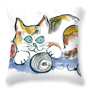Calico Kitty With Three Ornaments Throw Pillow