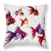 Calico Ryukin Goldfish Throw Pillow